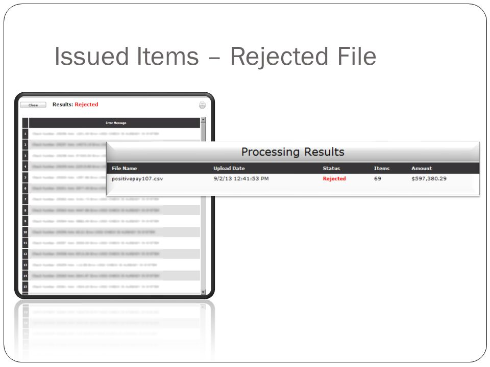 Issued Items – Rejected File