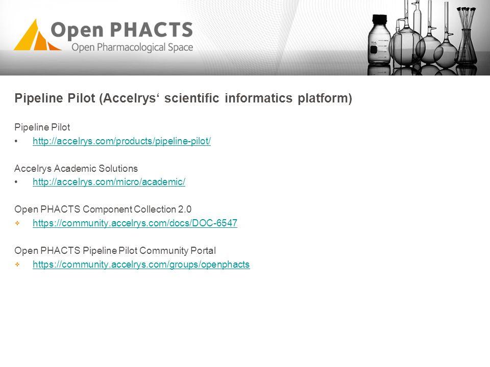 Pipeline Pilot (Accelrys' scientific informatics platform) Pipeline Pilot http://accelrys.com/products/pipeline-pilot/ Accelrys Academic Solutions htt
