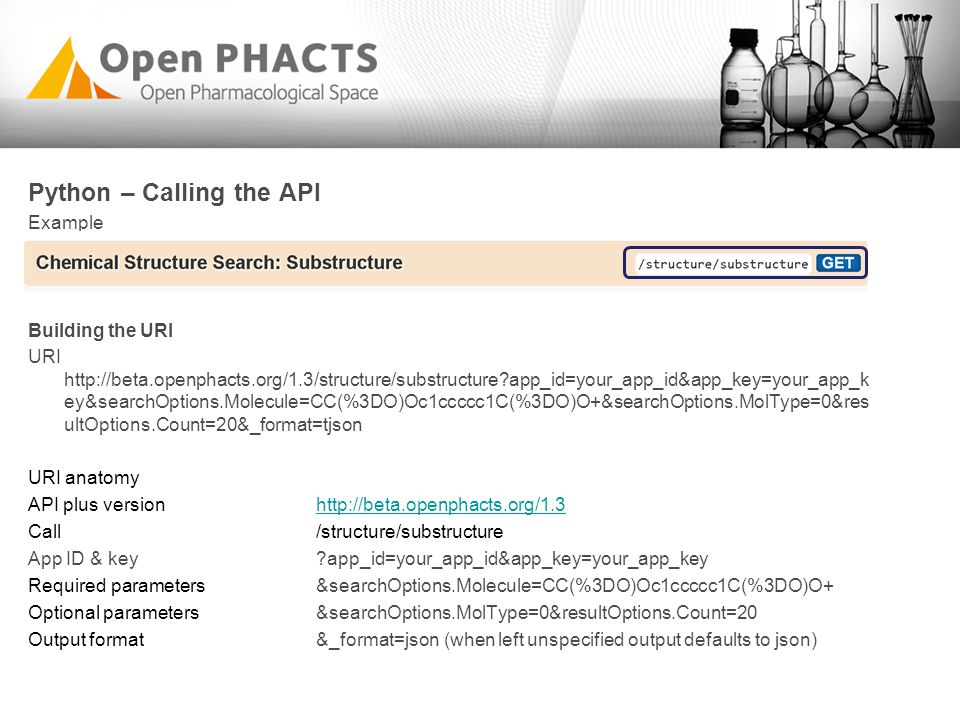 Python – Calling the API Example Building the URI URI http://beta.openphacts.org/1.3/structure/substructure?app_id=your_app_id&app_key=your_app_k ey&s