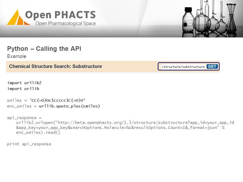 Python – Calling the API Example import urllib2 import urllib smiles = 'CC(=O)Oc1ccccc1C(=O)O' enc_smiles = urllib.quote_plus(smiles) api_response = u