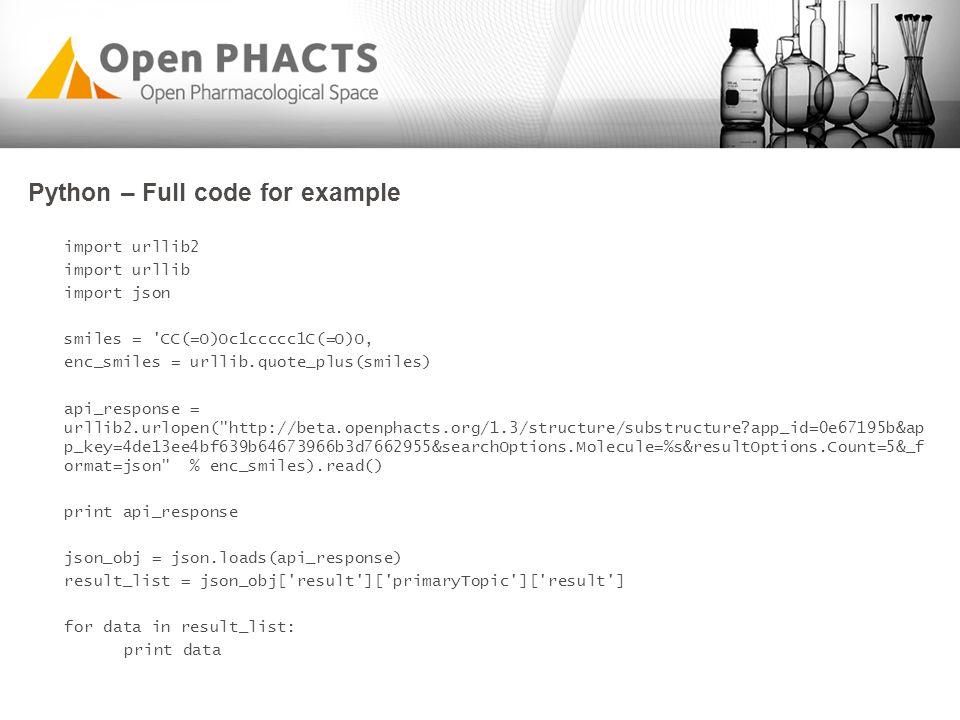 Python – Full code for example import urllib2 import urllib import json smiles = 'CC(=O)Oc1ccccc1C(=O)O' enc_smiles = urllib.quote_plus(smiles) api_re