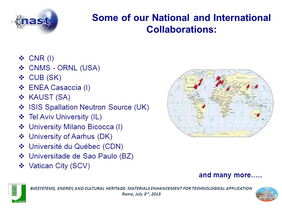 Some of our National and International Collaborations:  CNR (I)  CNMS - ORNL (USA)  CUB (SK)  ENEA Casaccia (I)  KAUST (SA)  ISIS Spallation Neutron Source (UK)  Tel Aviv University (IL)  University Milano Bicocca (I)  University of Aarhus (DK)  Université du Québec (CDN)  Universitade de Sao Paulo (BZ)  Vatican City (SCV) BIOSYSTEMS, ENERGY, AND CULTURAL HERITAGE: MATERIALS ENHANCEMENT FOR TECHNOLOGICAL APPLICATION Rome, July 3 rd, 2013 and many more…..
