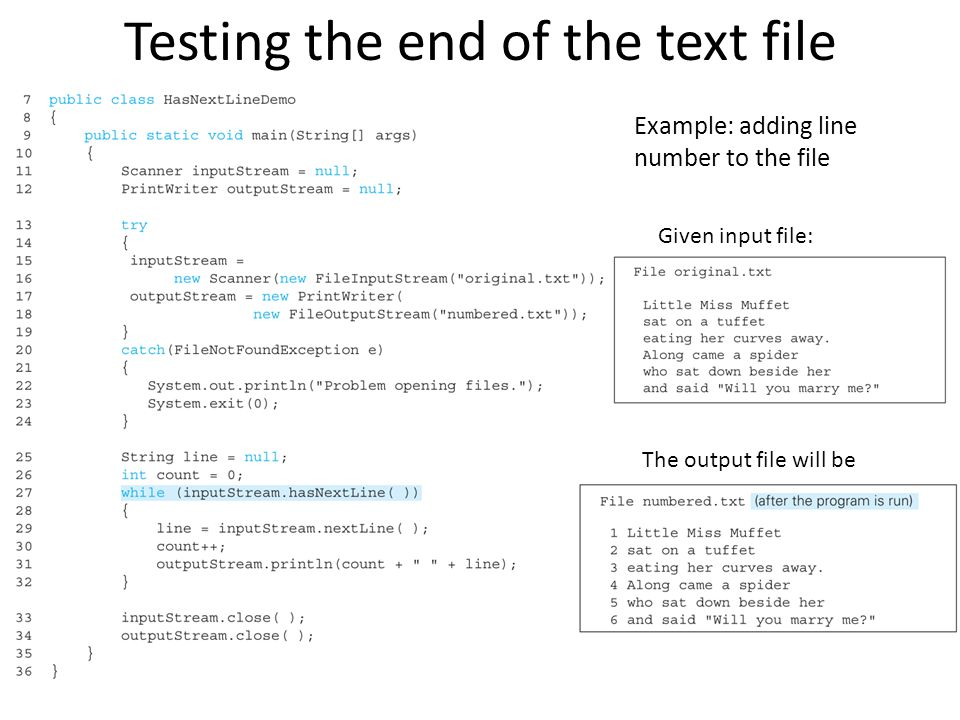 Testing the end of the text file Example: adding line number to the file Given input file: The output file will be