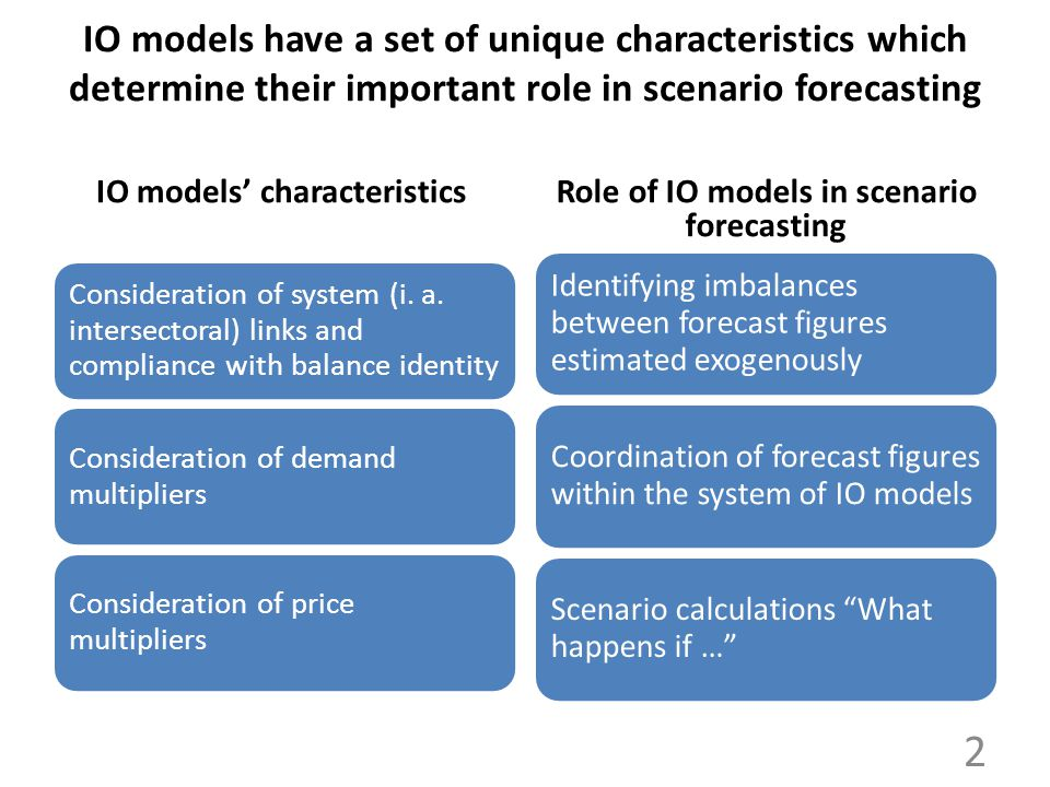 IO models have a set of unique characteristics which determine their important role in scenario forecasting IO models' characteristics Consideration o