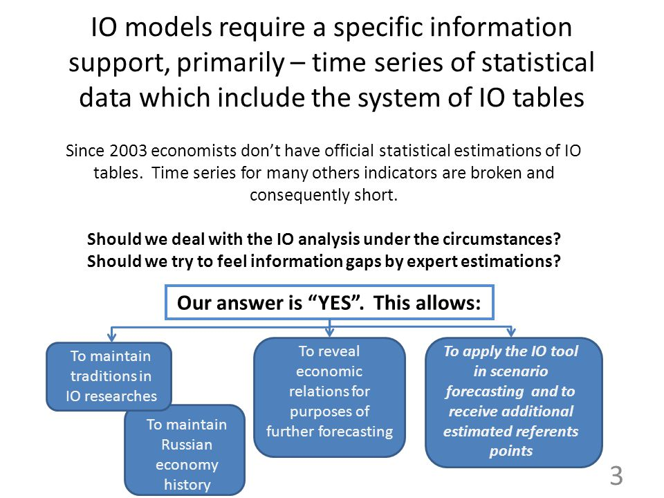 IO models require a specific information support, primarily – time series of statistical data which include the system of IO tables Since 2003 economi