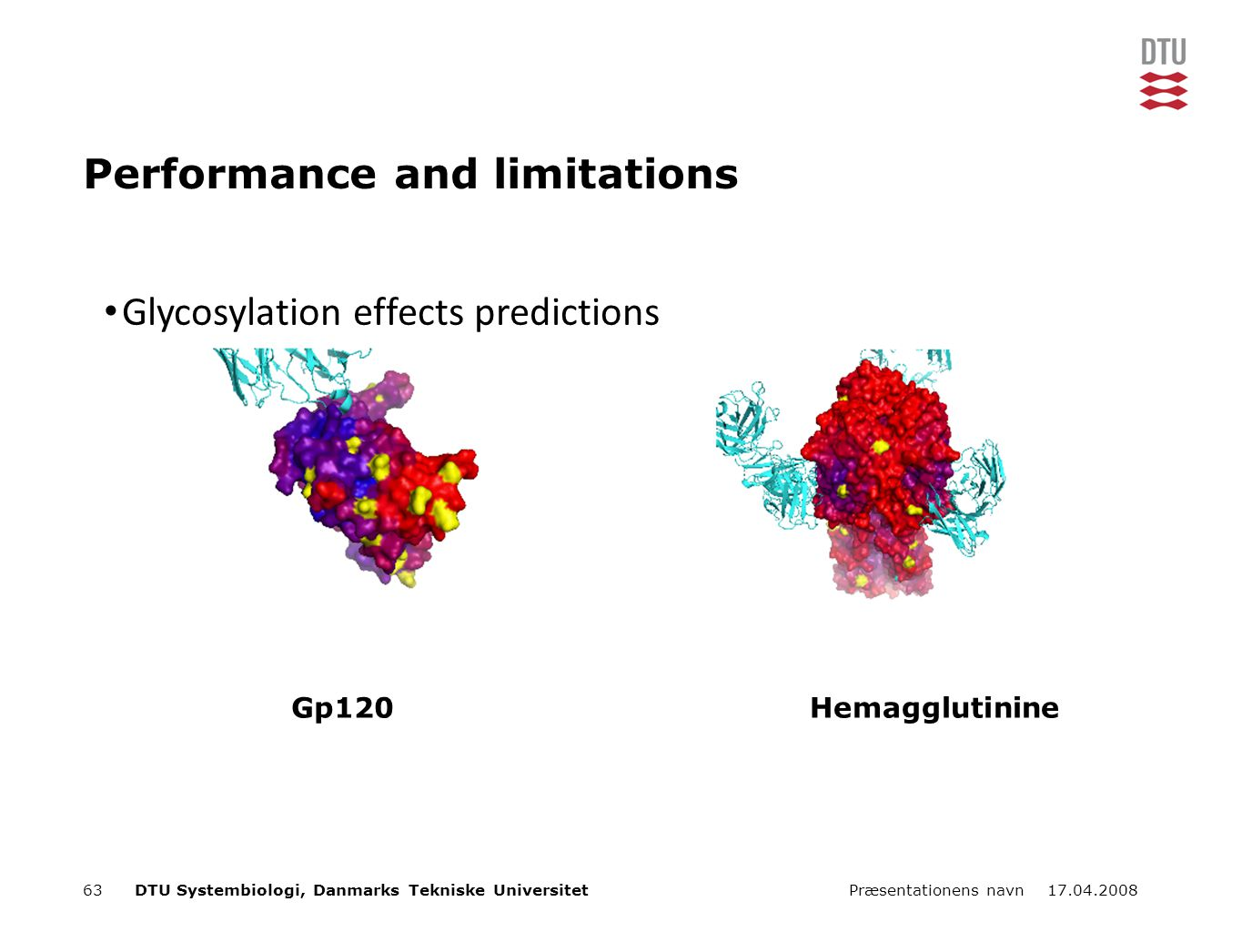 17.04.2008Præsentationens navn63DTU Systembiologi, Danmarks Tekniske Universitet Performance and limitations Gp120Hemagglutinine Glycosylation effects predictions