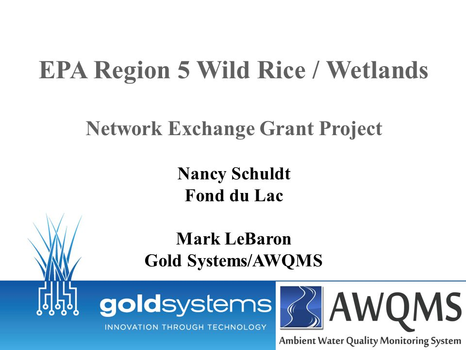 EPA Region 5 Wild Rice / Wetlands Network Exchange Grant Project Nancy Schuldt Fond du Lac Mark LeBaron Gold Systems/AWQMS