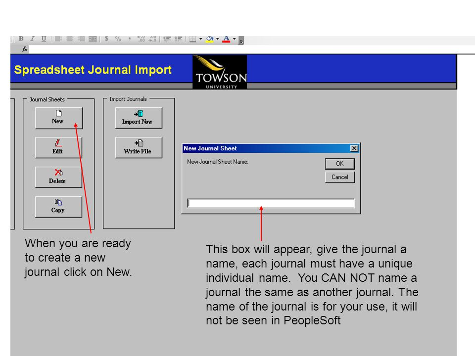 When you are ready to create a new journal click on New.