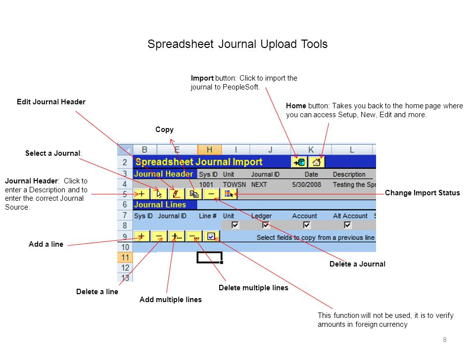 8 Spreadsheet Journal Upload Tools Home button: Takes you back to the home page where you can access Setup, New, Edit and more.