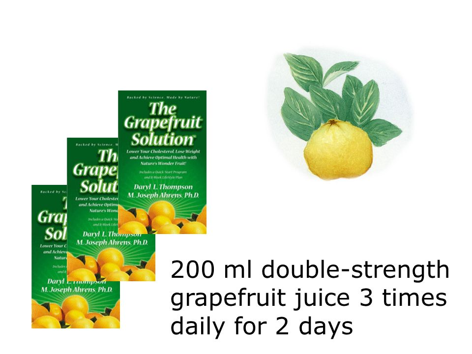 200 ml double-strength grapefruit juice 3 times daily for 2 days