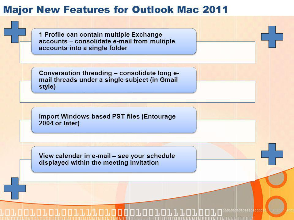 Major New Features for Outlook Mac 2011 1 Profile can contain multiple Exchange accounts – consolidate e-mail from multiple accounts into a single folder Conversation threading – consolidate long e- mail threads under a single subject (in Gmail style) Import Windows based PST files (Entourage 2004 or later) View calendar in e-mail – see your schedule displayed within the meeting invitation