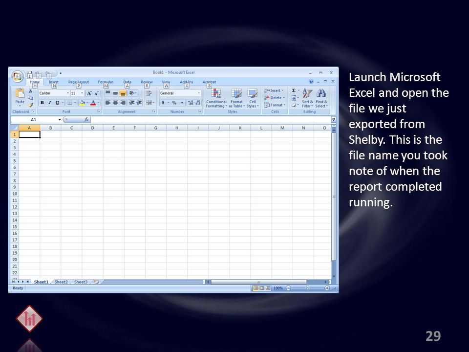 Launch Microsoft Excel and open the file we just exported from Shelby.