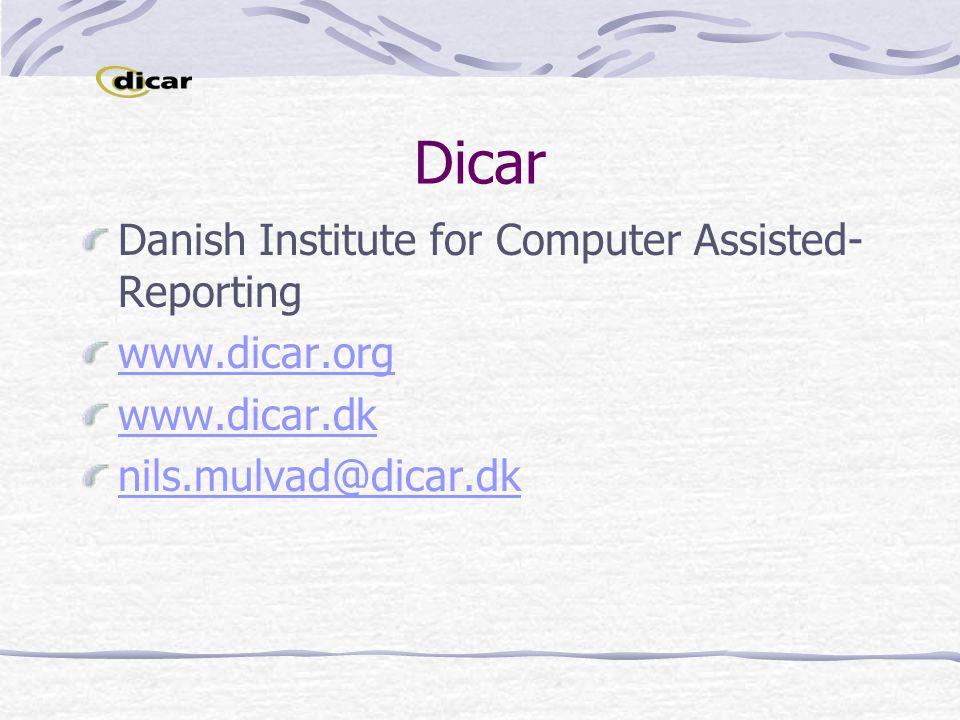 Dicar Danish Institute for Computer Assisted- Reporting www.dicar.org www.dicar.dk nils.mulvad@dicar.dk
