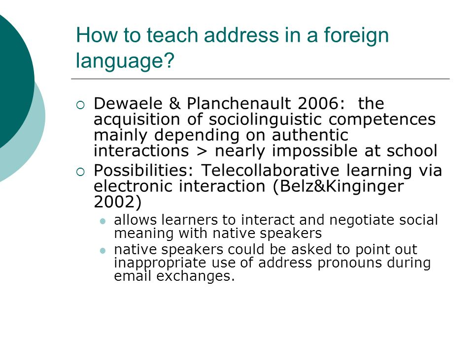 How to teach address in a foreign language.