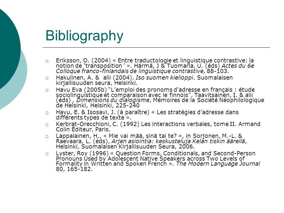 Bibliography  Eriksson, O. (2004) « Entre traductologie et linguistique contrastive: la notion de 'transposition ' ». Härmä, J & Tuomarla, U. (éds) A