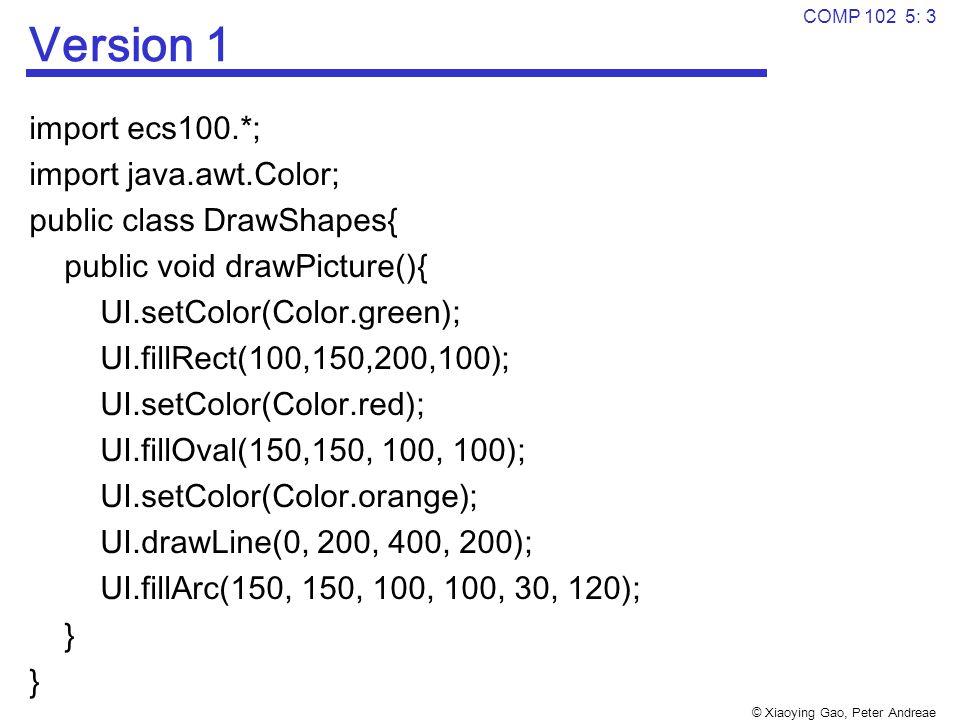 © Xiaoying Gao, Peter Andreae COMP 102 5: 3 Version 1 import ecs100.*; import java.awt.Color; public class DrawShapes{ public void drawPicture(){ UI.setColor(Color.green); UI.fillRect(100,150,200,100); UI.setColor(Color.red); UI.fillOval(150,150, 100, 100); UI.setColor(Color.orange); UI.drawLine(0, 200, 400, 200); UI.fillArc(150, 150, 100, 100, 30, 120); }