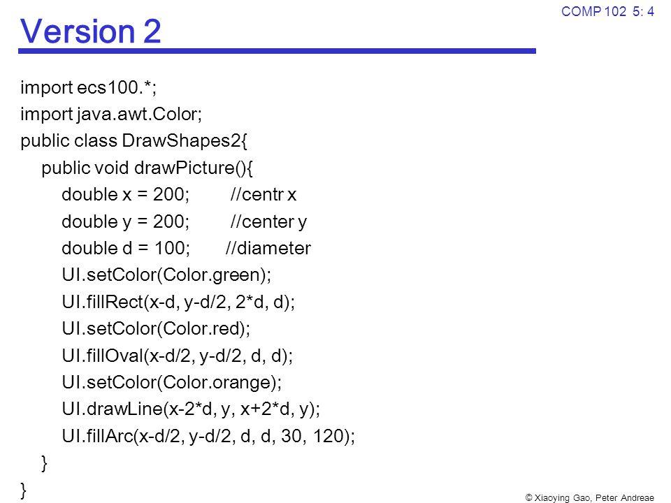 © Xiaoying Gao, Peter Andreae COMP 102 5: 4 Version 2 import ecs100.*; import java.awt.Color; public class DrawShapes2{ public void drawPicture(){ double x = 200; //centr x double y = 200; //center y double d = 100; //diameter UI.setColor(Color.green); UI.fillRect(x-d, y-d/2, 2*d, d); UI.setColor(Color.red); UI.fillOval(x-d/2, y-d/2, d, d); UI.setColor(Color.orange); UI.drawLine(x-2*d, y, x+2*d, y); UI.fillArc(x-d/2, y-d/2, d, d, 30, 120); }