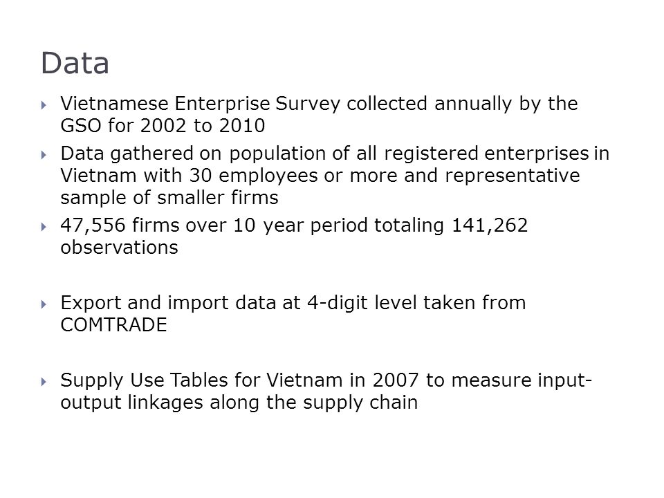 Data  Vietnamese Enterprise Survey collected annually by the GSO for 2002 to 2010  Data gathered on population of all registered enterprises in Viet