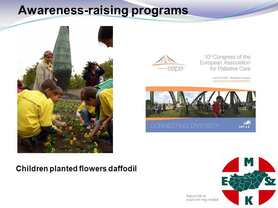 Kapunk tárva, a szívünk még inkább! Awareness-raising programs Children planted flowers daffodil