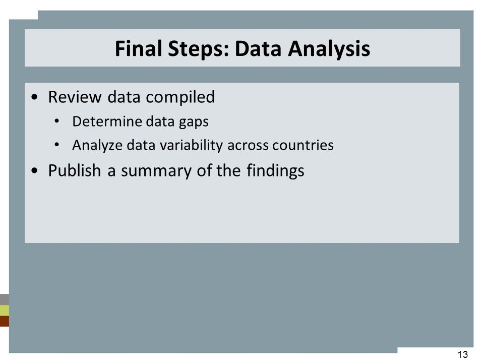 Final Steps: Data Analysis Review data compiled Determine data gaps Analyze data variability across countries Publish a summary of the findings 13