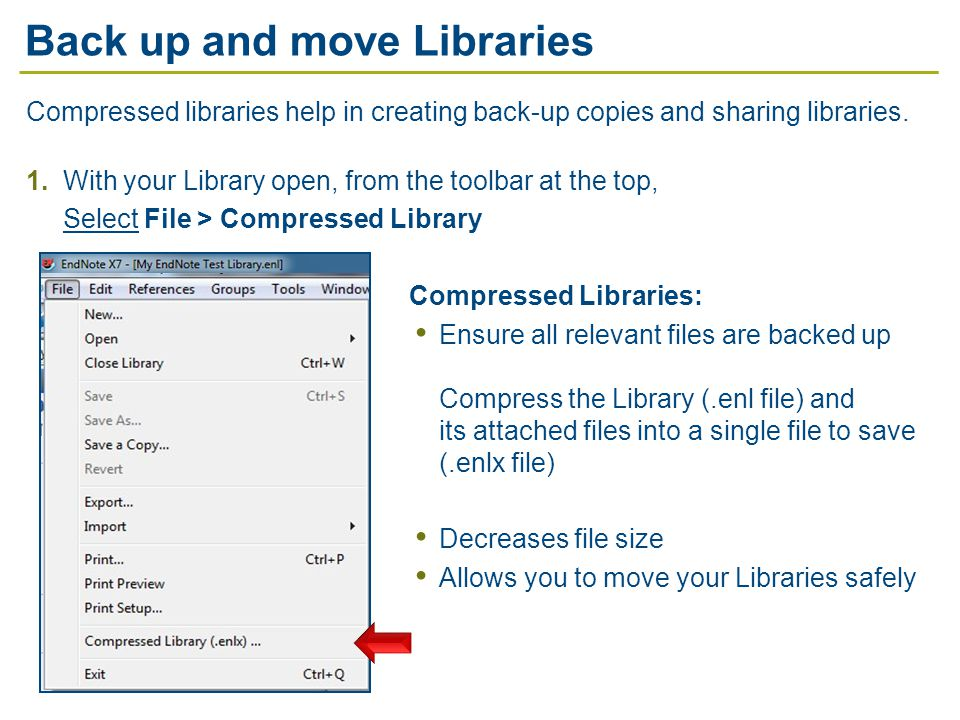 Compressed libraries help in creating back-up copies and sharing libraries.