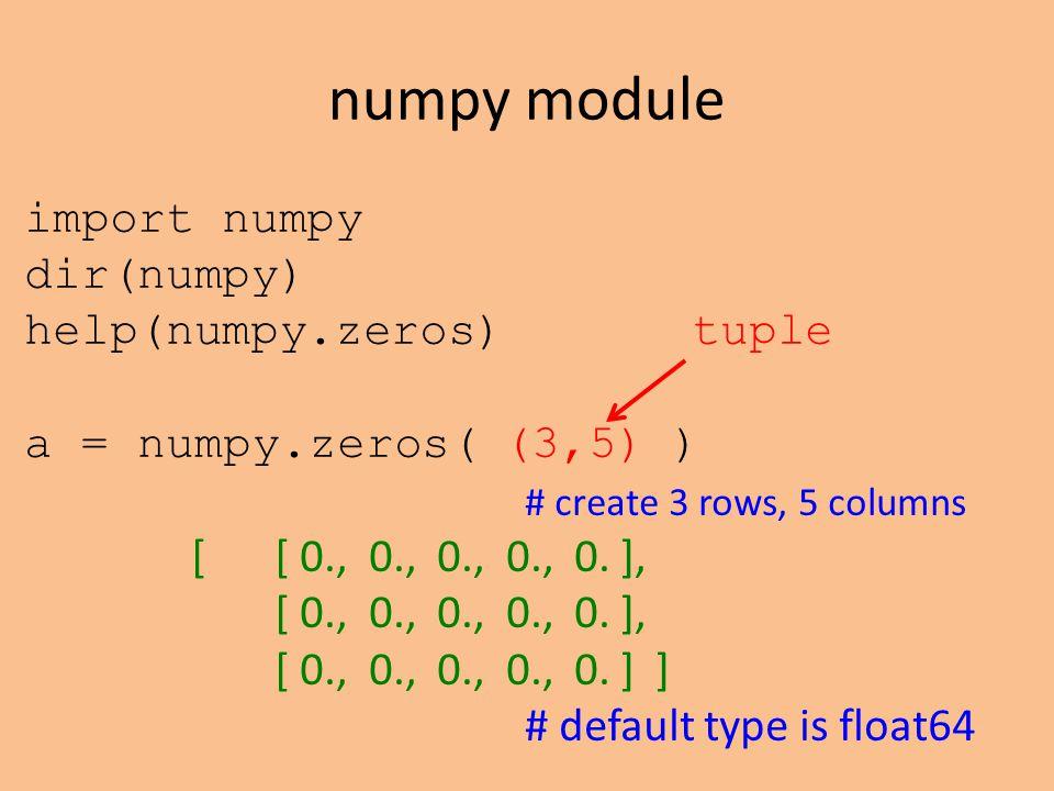 numpy module import numpy dir(numpy) help(numpy.zeros)tuple a = numpy.zeros( (3,5) ) # create 3 rows, 5 columns [ [ 0., 0., 0., 0., 0.