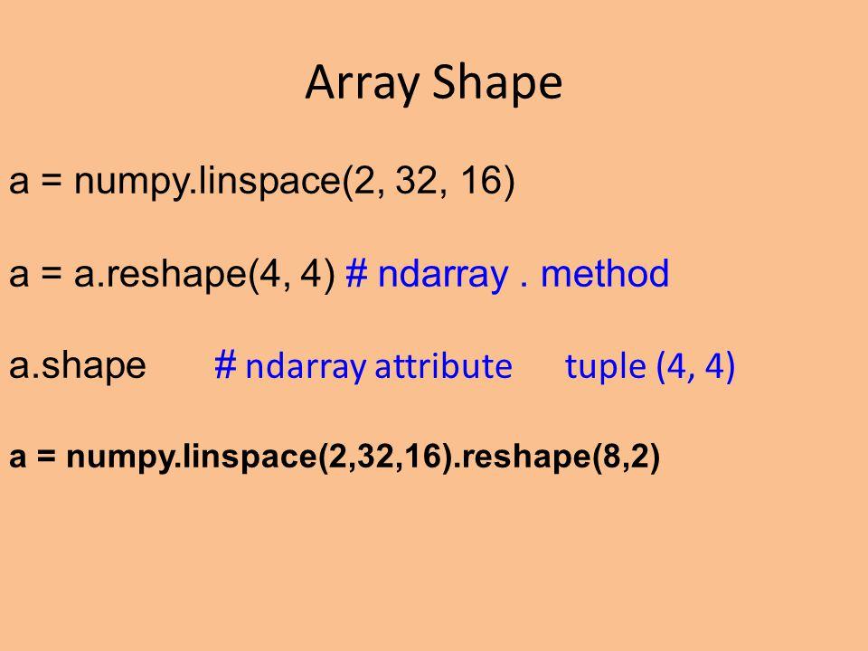 Array Shape a = numpy.linspace(2, 32, 16) a = a.reshape(4, 4) # ndarray.