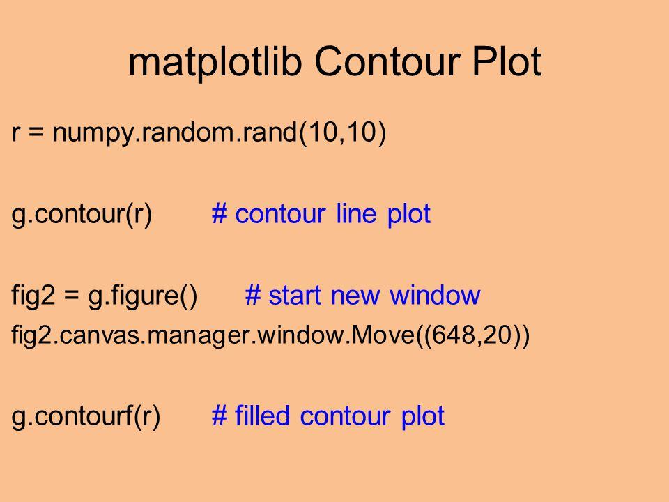 matplotlib Contour Plot r = numpy.random.rand(10,10) g.contour(r)# contour line plot fig2 = g.figure()# start new window fig2.canvas.manager.window.Move((648,20)) g.contourf(r)# filled contour plot