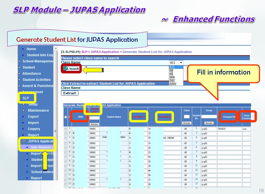 Generate Student List for JUPAS Application Fill in information 18