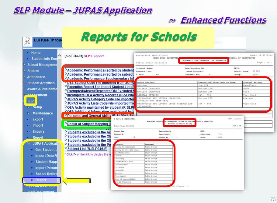 Reports for Schools 75