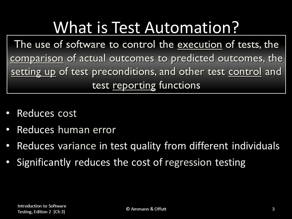 Software Testability (3.1) Plainly speaking – how hard it is to find faults in the software Testability is determined by two practical problems – How to provide the test values to the software – How to observe the results of test execution Introduction to Software Testing, Edition 2 (Ch 3) © Ammann & Offutt4 The degree to which a system or component facilitates the establishment of test criteria and the performance of tests to determine whether those criteria have been met