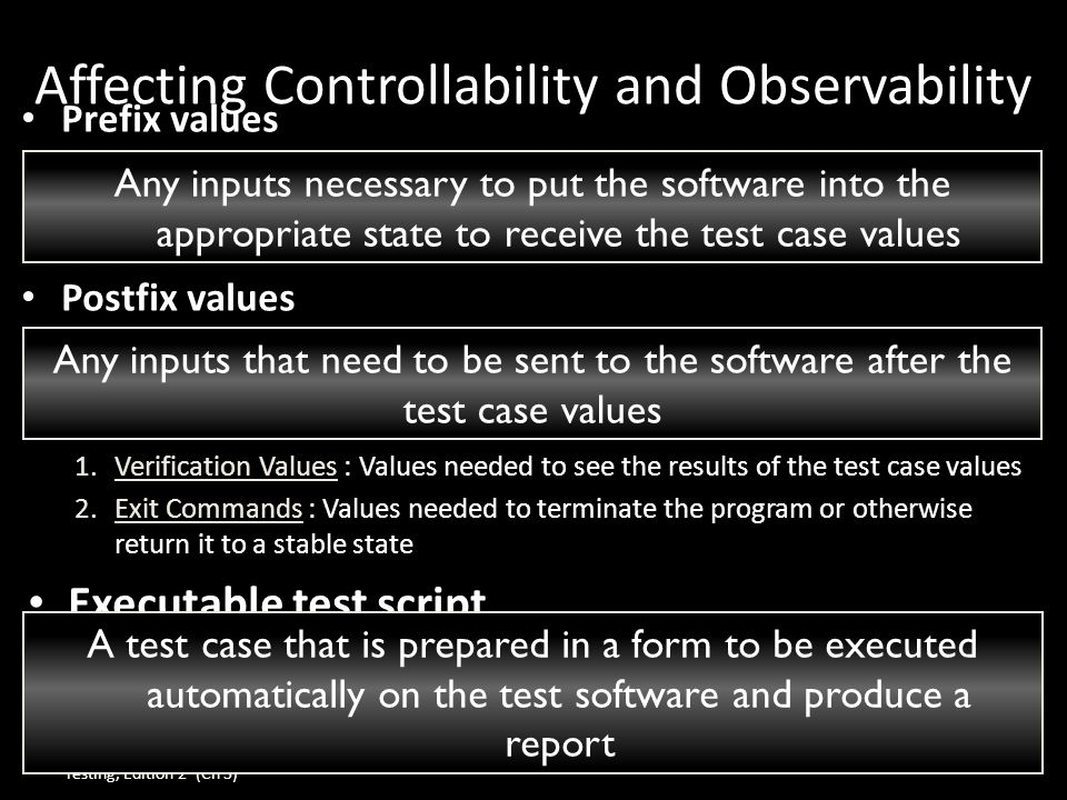 Affecting Controllability and Observability Prefix values Prefix values Postfix values Postfix values 1.Verification Values : Values needed to see the results of the test case values 2.Exit Commands : Values needed to terminate the program or otherwise return it to a stable state Executable test script Executable test script Introduction to Software Testing, Edition 2 (Ch 3) © Ammann & Offutt7 Any inputs that need to be sent to the software after the test case values Any inputs necessary to put the software into the appropriate state to receive the test case values A test case that is prepared in a form to be executed automatically on the test software and produce a report