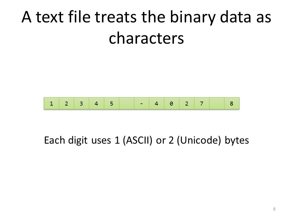 A binary file manipulates the binary data Each data item uses the same number of bytes (4 for ints) 9