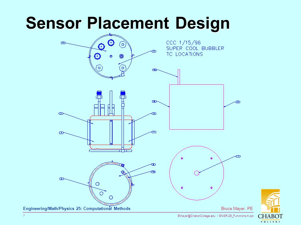 BMayer@ChabotCollege.edu ENGR-25_Functions-4.ppt 7 Bruce Mayer, PE Engineering/Math/Physics 25: Computational Methods Sensor Placement Design