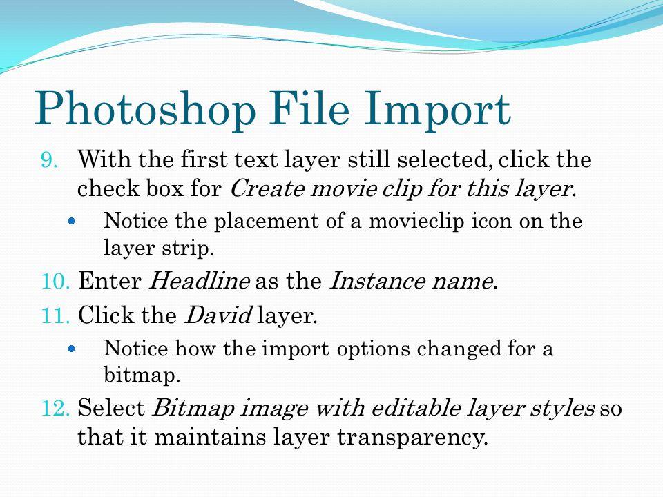 Photoshop File Import 9.