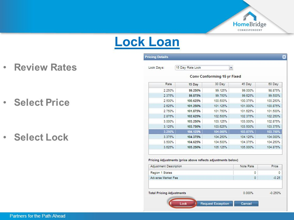 Partners for the Path Ahead Lock Loan Review Rates Select Price Select Lock