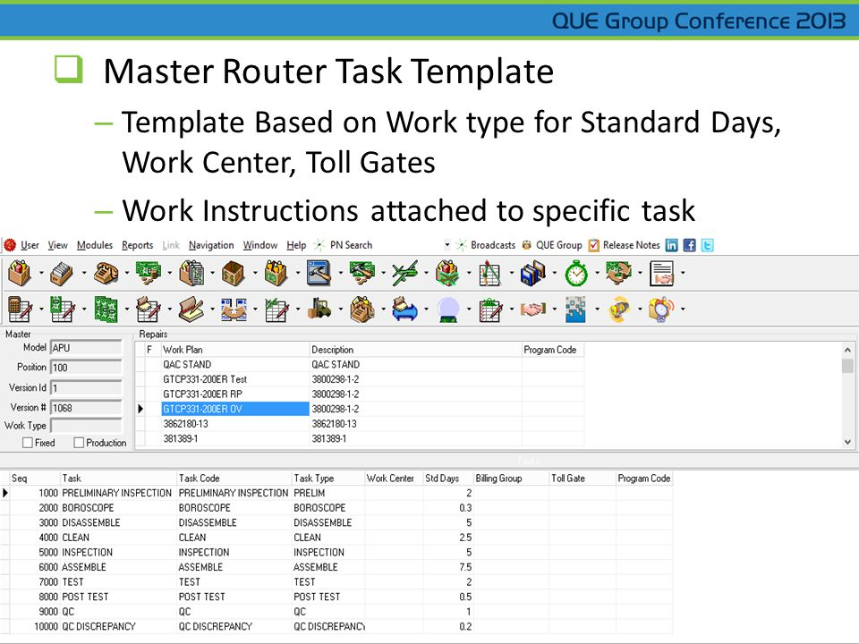  Master Router Task Template – Template Based on Work type for Standard Days, Work Center, Toll Gates – Work Instructions attached to specific task