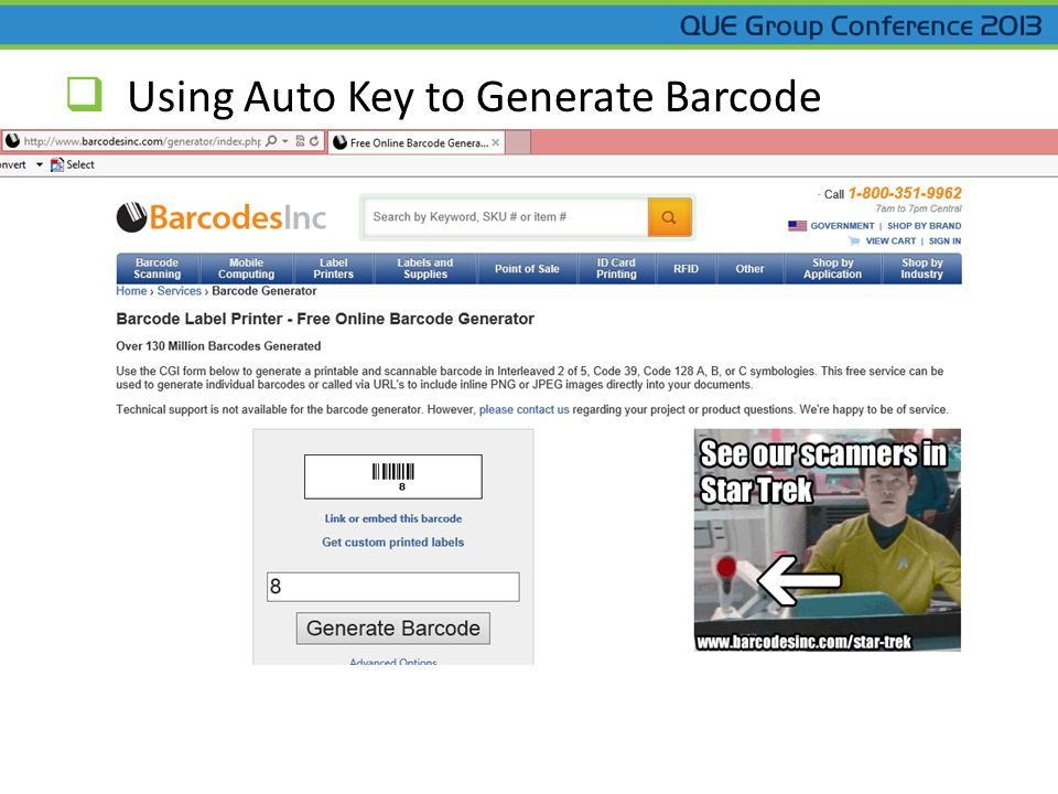  Using Auto Key to Generate Barcode