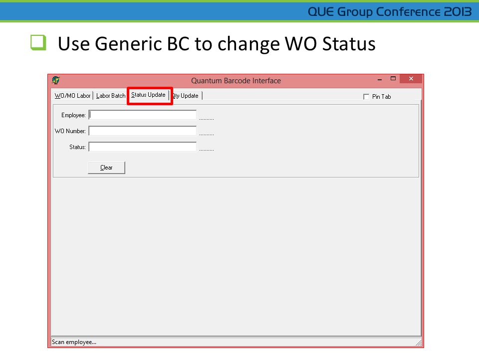  Use Generic BC to change WO Status