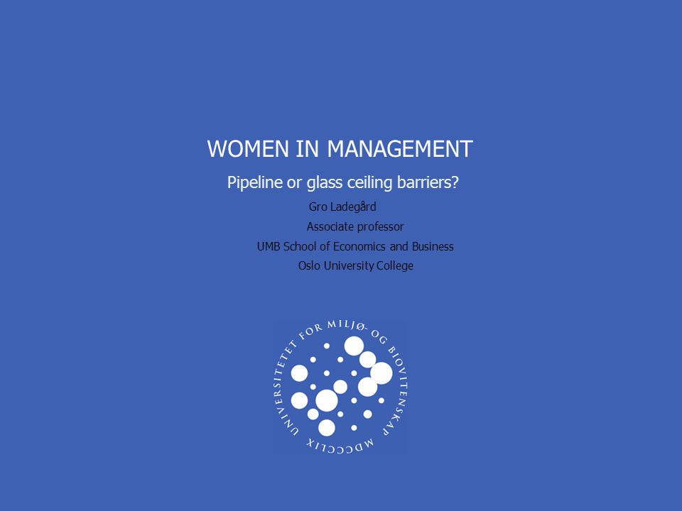 WOMEN IN MANAGEMENT Pipeline or glass ceiling barriers.
