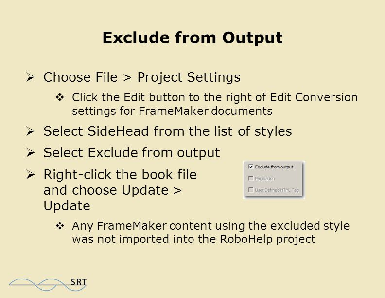 Convert Bulleted Content  Select Bulleted from the list of styles  From the Autonumber area, select Convert Autonumber to and select HTML List from the drop-down menu  Right-click the book file and choose Update > Update  The topics have been split (paginated) into small chunks  The bulleted lists have been converted to html bullets