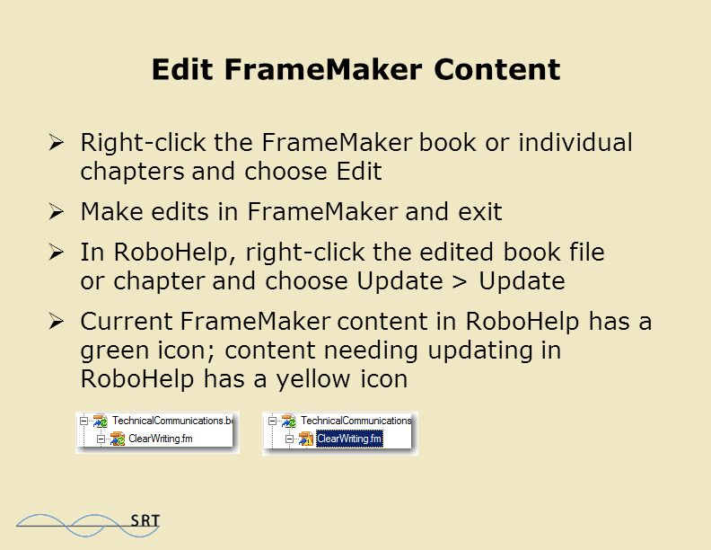 Exclude from Output  Choose File > Project Settings  Click the Edit button to the right of Edit Conversion settings for FrameMaker documents  Select SideHead from the list of styles  Select Exclude from output  Right-click the book file and choose Update > Update  Any FrameMaker content using the excluded style was not imported into the RoboHelp project