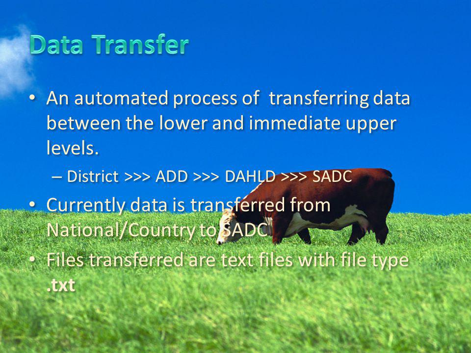 An automated process of transferring data between the lower and immediate upper levels. – District >>> ADD >>> DAHLD >>> SADC Currently data is transf