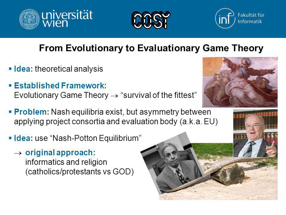 "From Evolutionary to Evaluationary Game Theory  Idea: theoretical analysis  Established Framework: Evolutionary Game Theory  ""survival of the fitte"