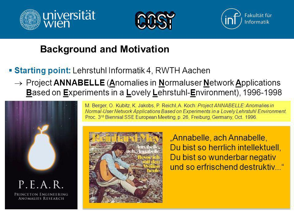 Background and Motivation  Starting point: Lehrstuhl Informatik 4, RWTH Aachen  Project ANNABELLE (Anomalies in Normaluser Network Applications Base