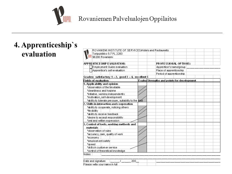 Rovaniemen Palvelualojen Oppilaitos 4. Apprenticeship`s evaluation