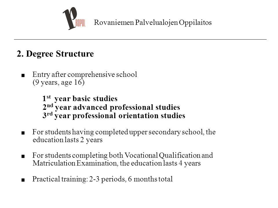 Rovaniemen Palvelualojen Oppilaitos 2. Degree Structure Entry after comprehensive school (9 years, age 16) 1 st year basic studies 2 nd year advanced