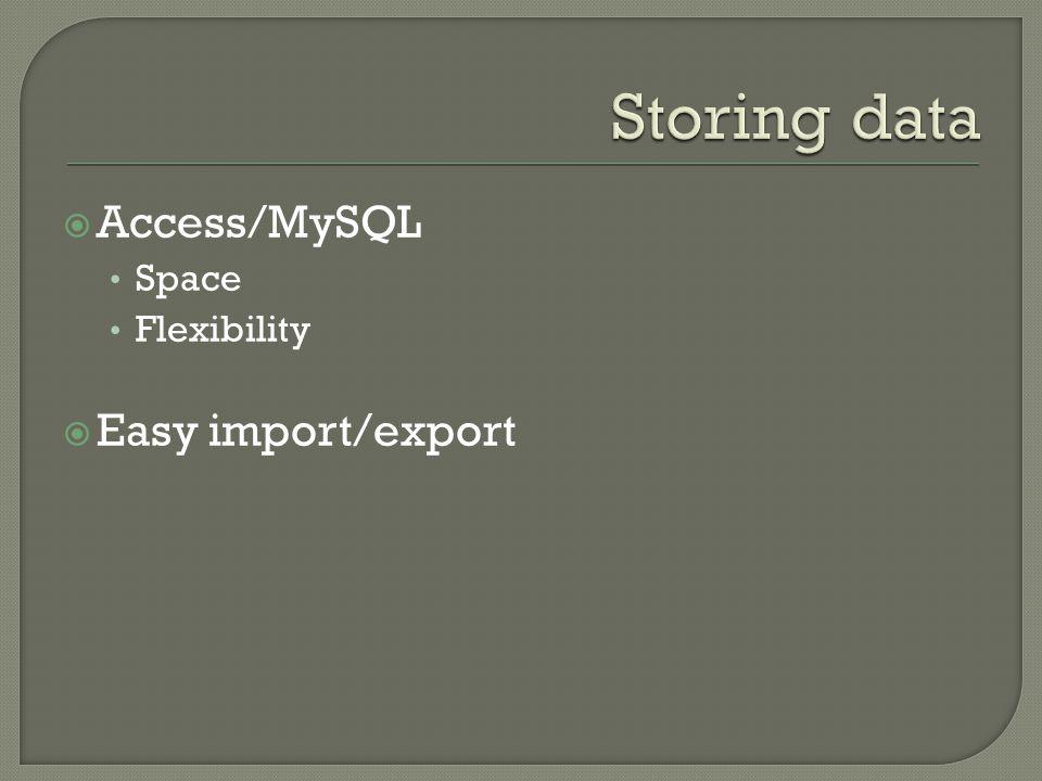  Access/MySQL Space Flexibility  Easy import/export