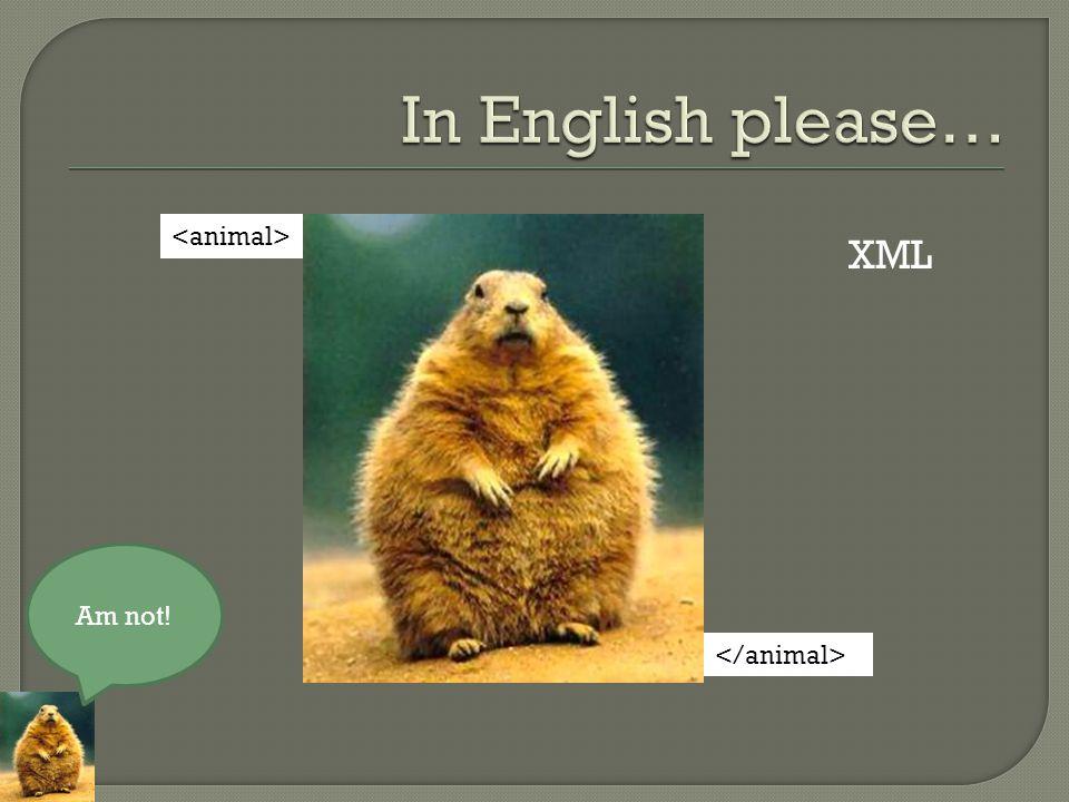 Am not! XML
