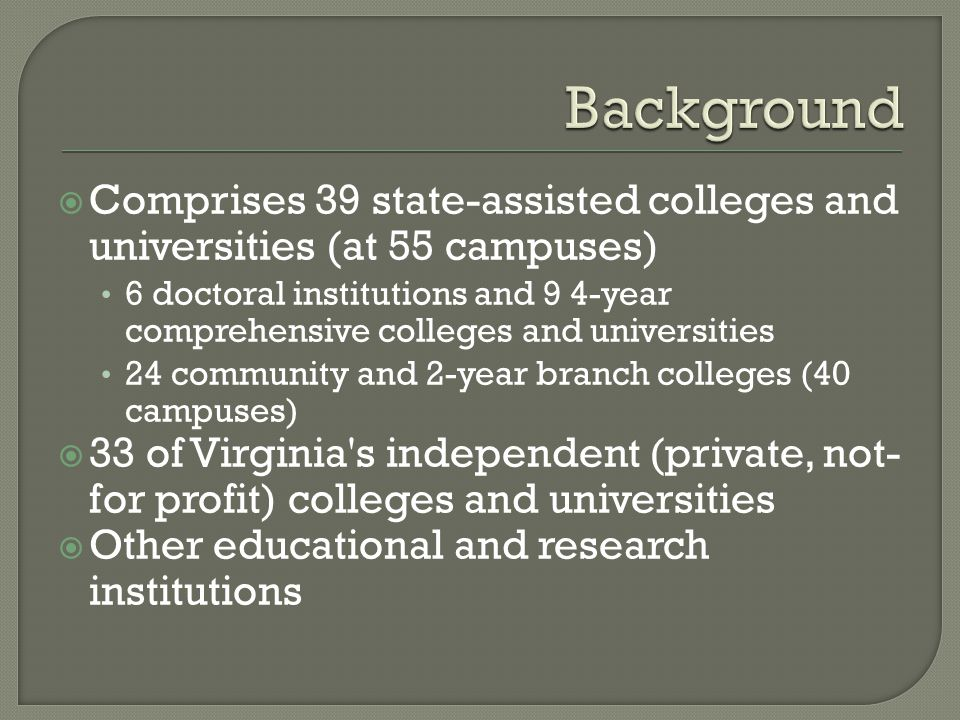  Comprises 39 state-assisted colleges and universities (at 55 campuses) 6 doctoral institutions and 9 4-year comprehensive colleges and universities